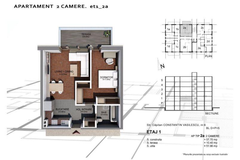 Apartamente 2 camere, Tip 2 A, Sun Residence Berceni
