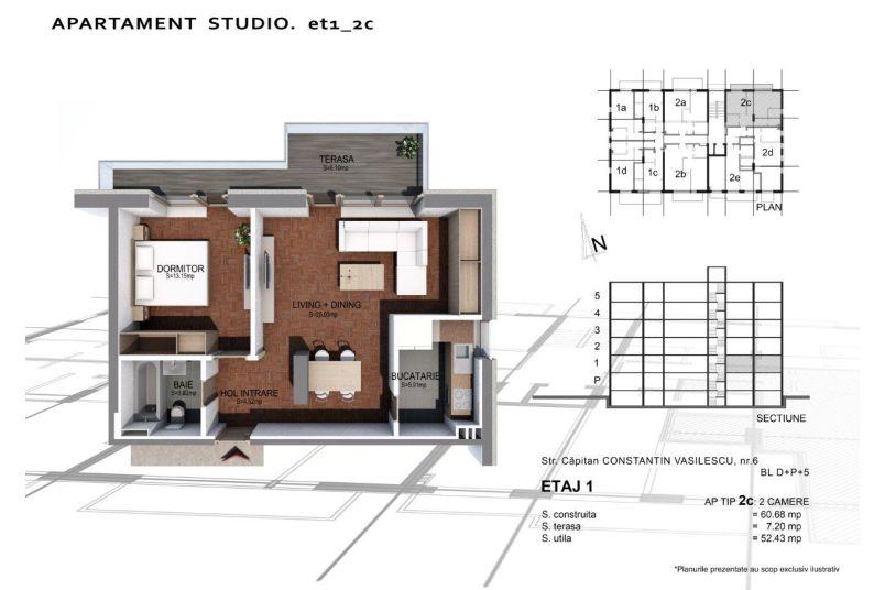 Apartamente 2 camere, Tip 2 C, Sun Residence Berceni