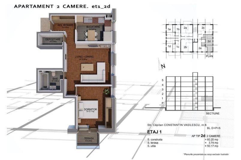 Apartamente 2 camere, Tip 2 D, Sun Residence Berceni