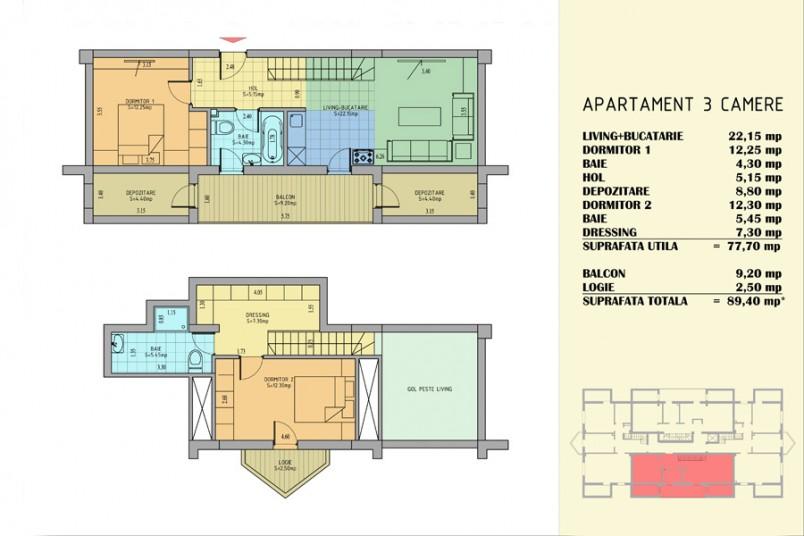 Apartamente 3 camere, 78 mp, Apollo Residence Berceni 2