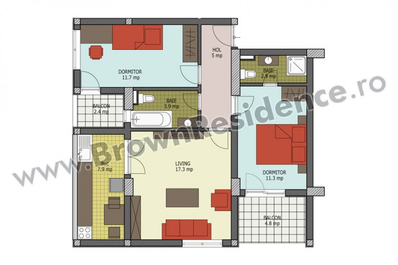 Apartamente 3 camere, 66 mp, Brown Residence 5