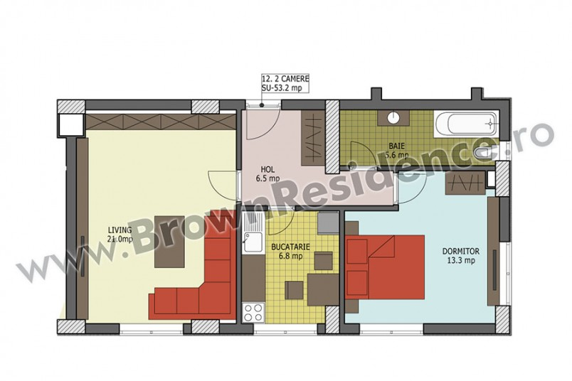 Apartamente 2 camere, 53 mp, Brown Residence 5