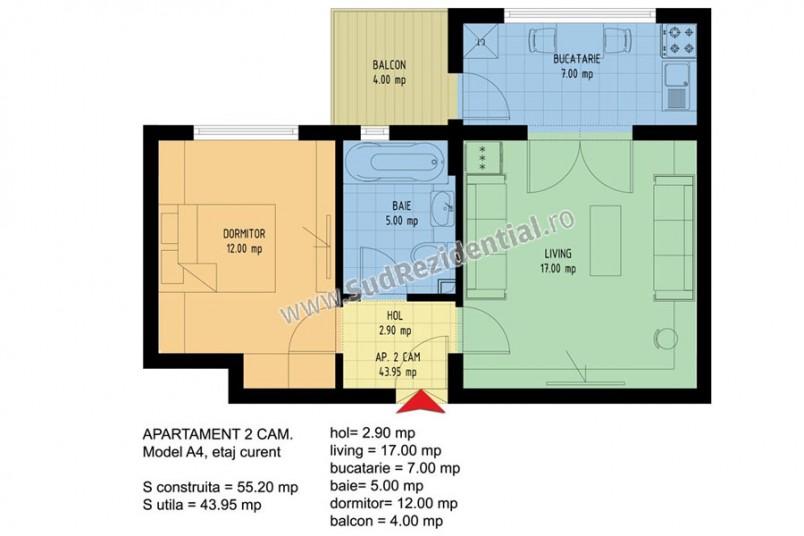 Apartamente 2 camere, 48 mp, Viva Residence 4