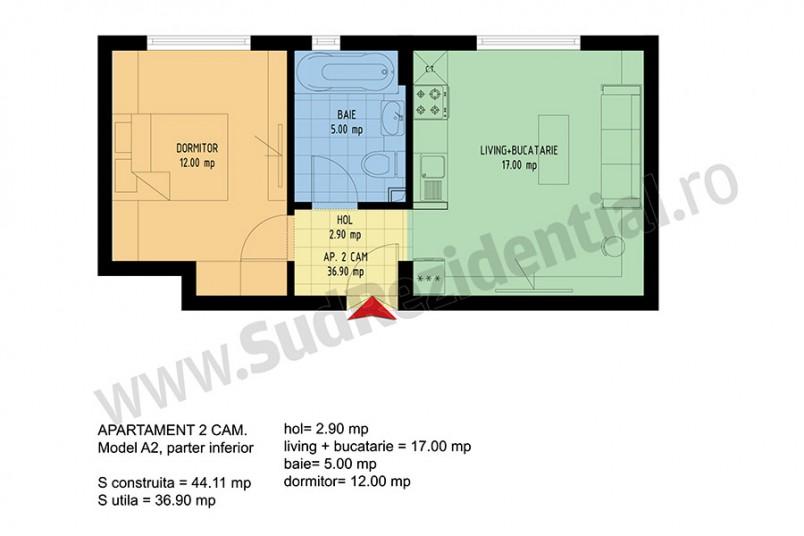 Apartamente 2 camere, 37 mp, Viva Residence 4