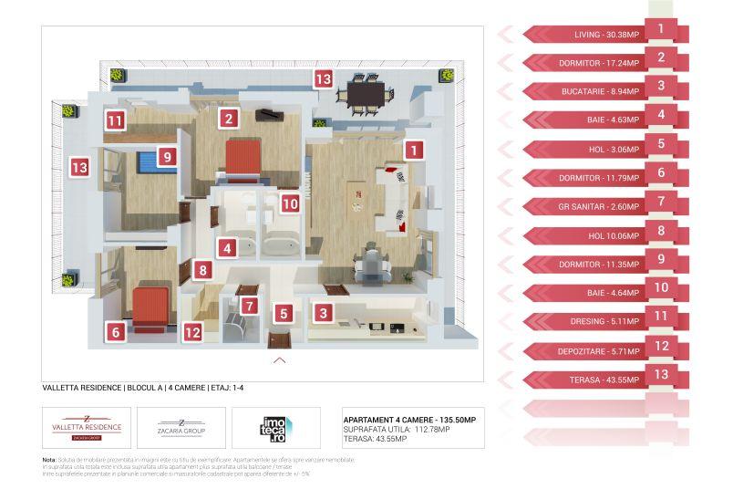 Apartamente 4 camere, 113 mp, Valletta Residence