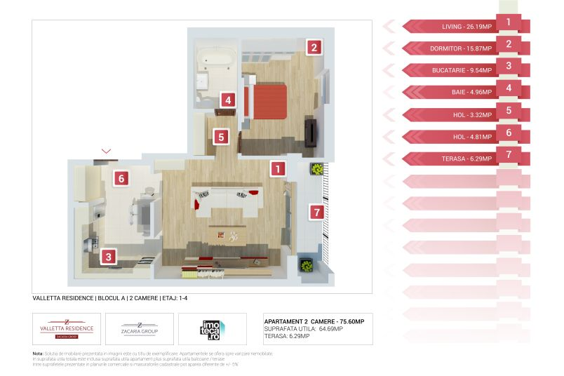 Apartamente 2 camere, 65 mp, Valletta Residence