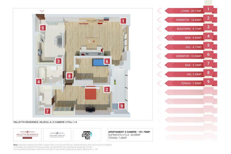 Apartamente 3 camere, 85 mp, Valletta Residence
