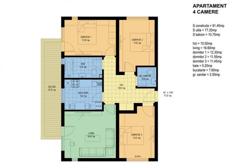 Apartamente 4 camere, 90 mp, Viva Residence 4