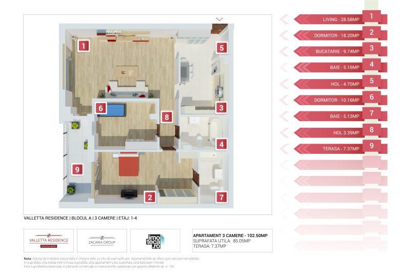 Apartamente 3 camere, 85 mp, Tip 2, Valletta Residence