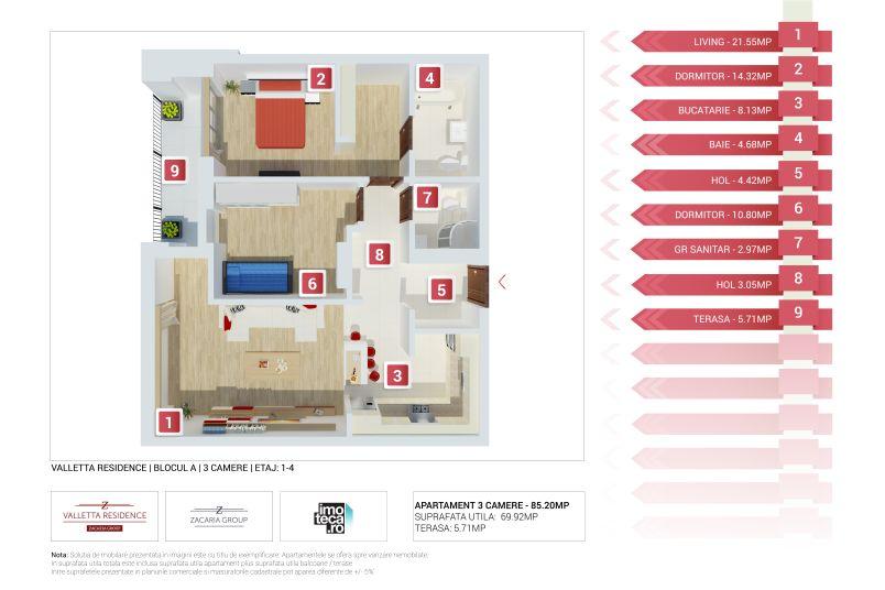 Apartamente 3 camere, 70 mp, Valletta Residence