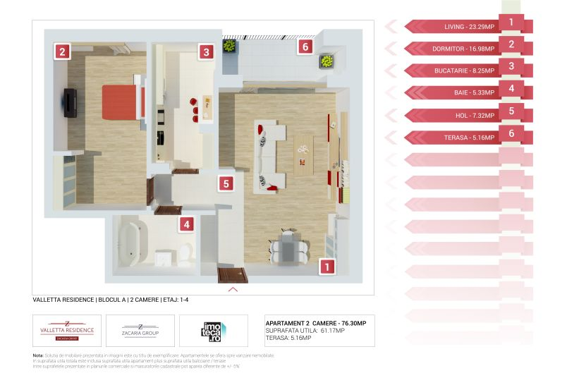 Apartamente 2 camere, 61 mp, Valletta Residence
