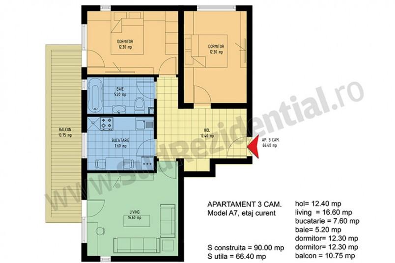 Apartamente 3 camere, 66 mp, Viva Residence 4