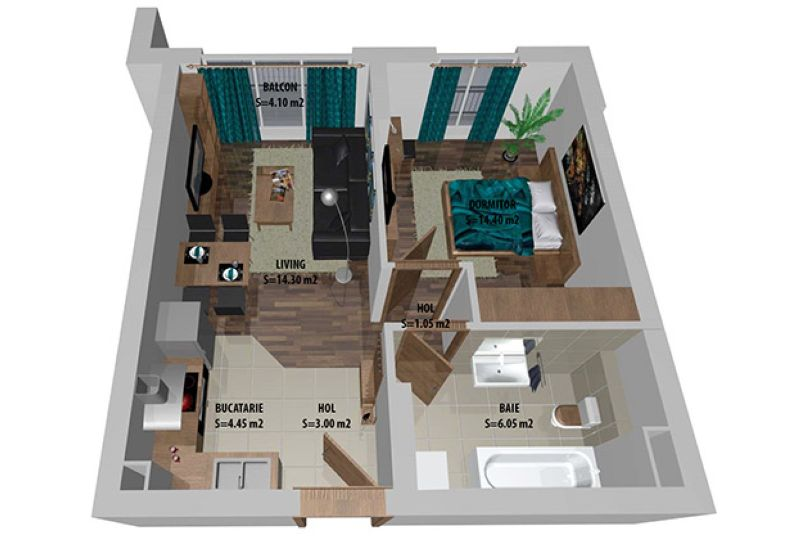 Studiouri 2 camere, 44 mp, Cosmopolis