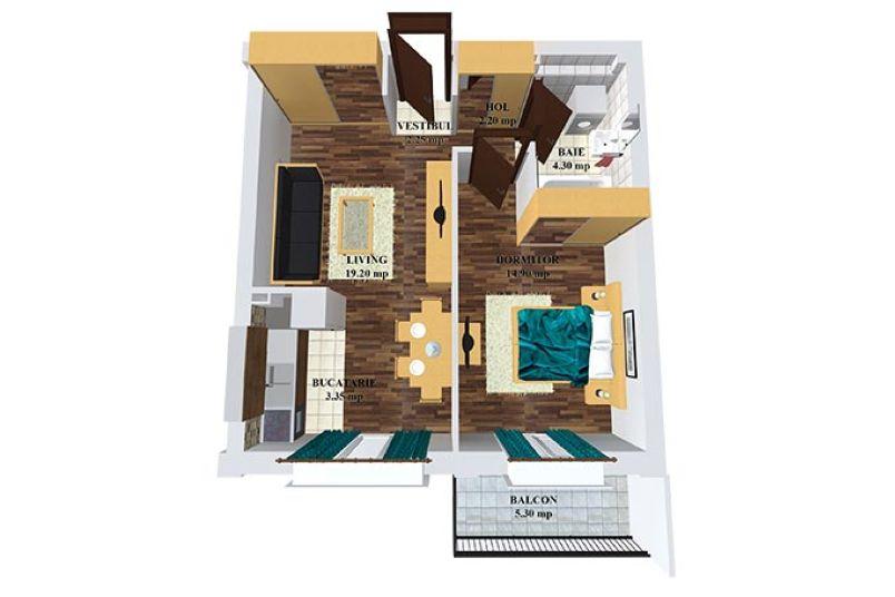 Apartamente 2 camere, 47 mp, Cosmopolis