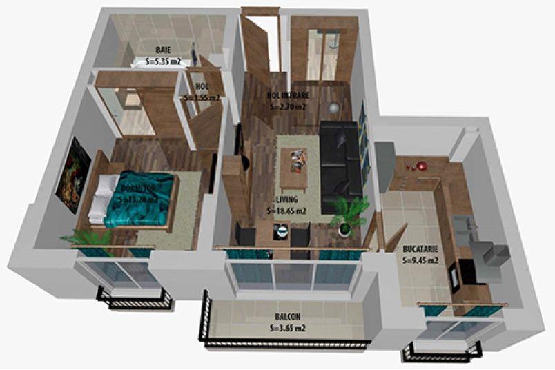 Apartamente 2 camere, 53 mp, Cosmopolis