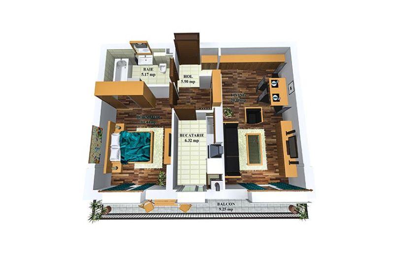 Apartamente 2 camere, 53 mp, Tip 2, Cosmopolis