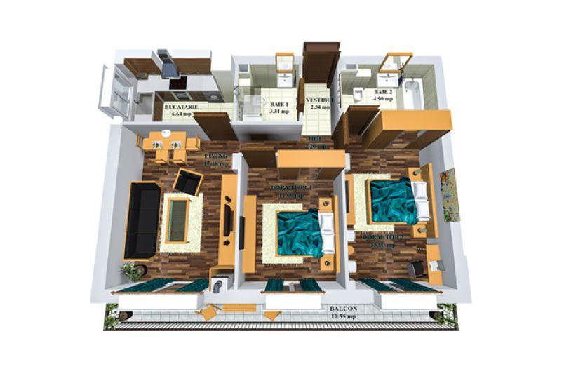 Apartamente 3 camere, 67 mp, Cosmopolis
