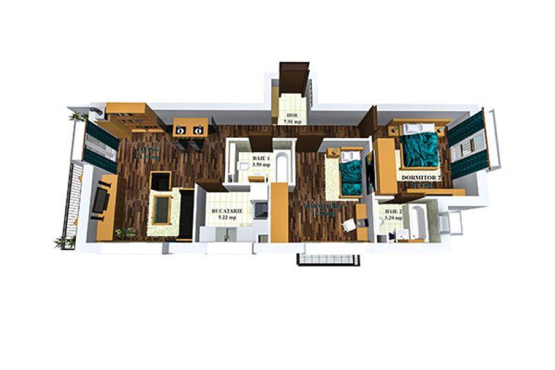 Apartamente 3 camere, 70 mp, Cosmopolis