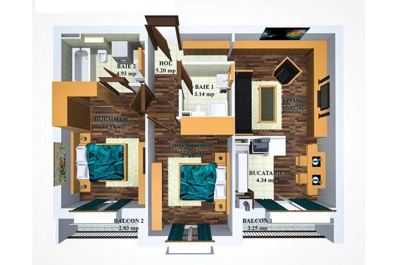 Apartamente 3 camere, 63 mp, Cosmopolis