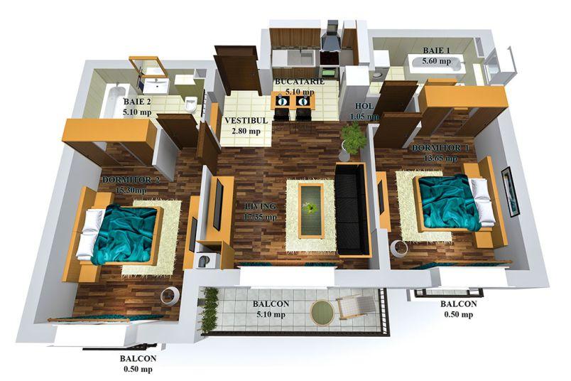 Apartamente 3 camere, 67 mp, Tip 2, Cosmopolis