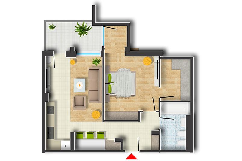 Apartamente 2 camere, 55 mp, Premium Residence Sova
