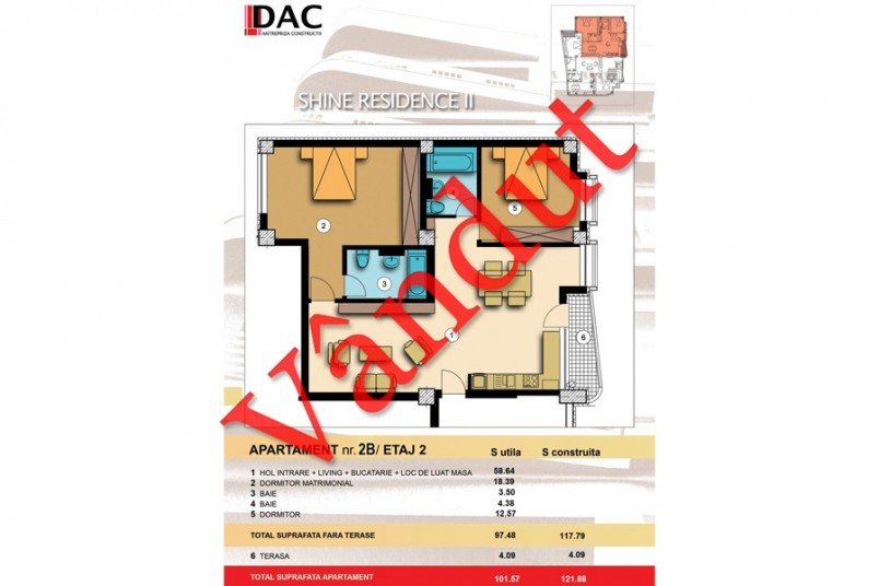 Apartament 3 camere, Model 2B, Shine Residence 2