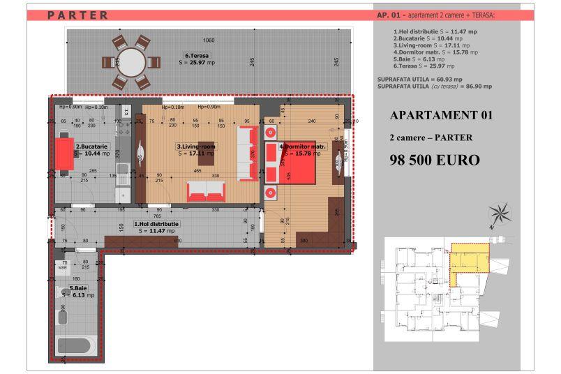 Apartament 2 camere, 61 mp, Mihai Bravu Residence VIII