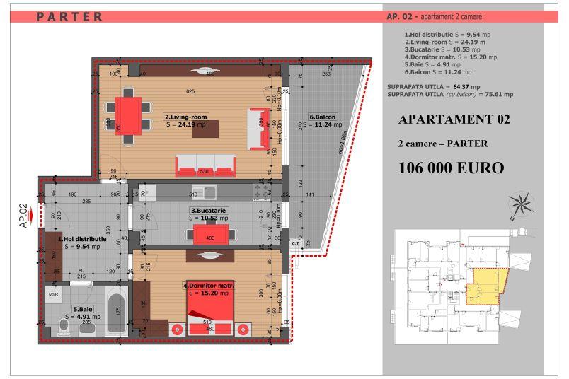 Apartament 2 camere, 64 mp, Mihai Bravu Residence VIII