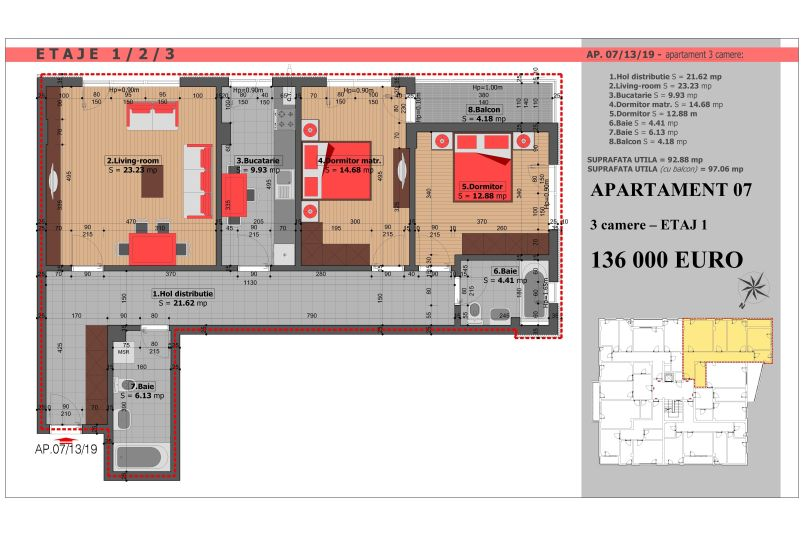 Apartament 3 camere, 93 mp, Mihai Bravu Residence VIII