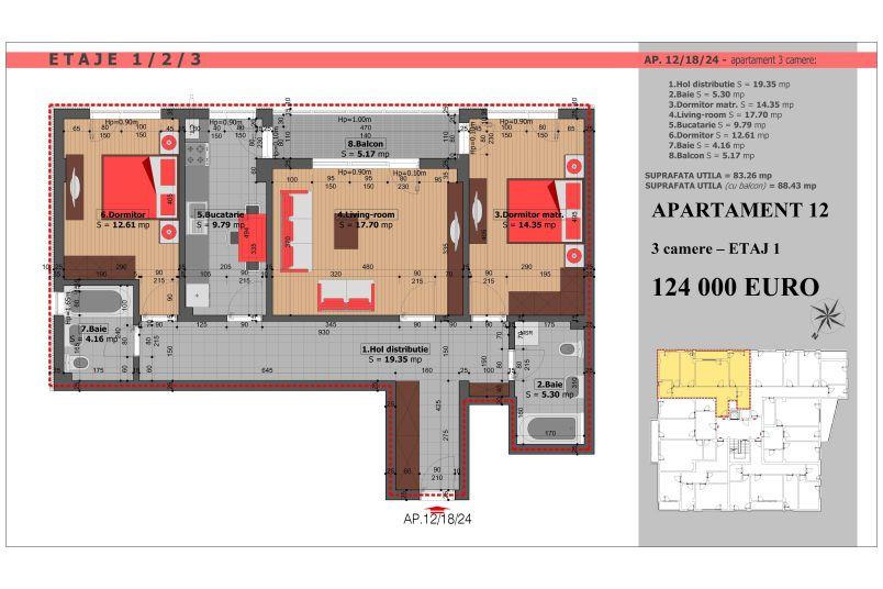 Apartament 3 camere, 83 mp, Mihai Bravu Residence VIII