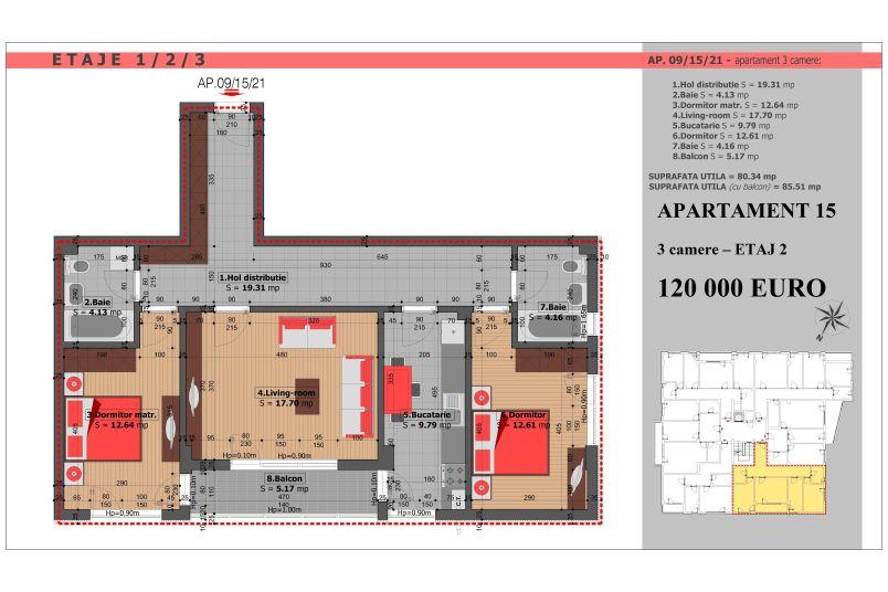 Apartament 3 camere, 80 mp, Mihai Bravu Residence VIII
