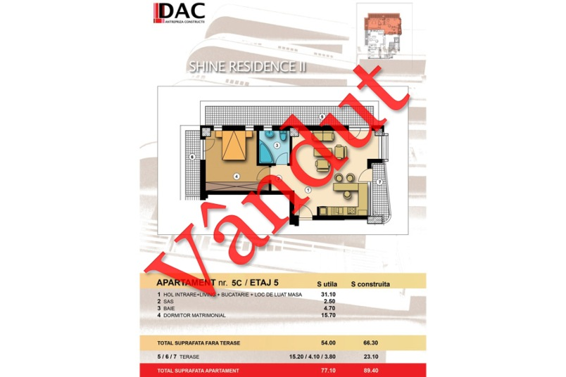 Apartament 2 camere, Model 5B, Shine Residence 2