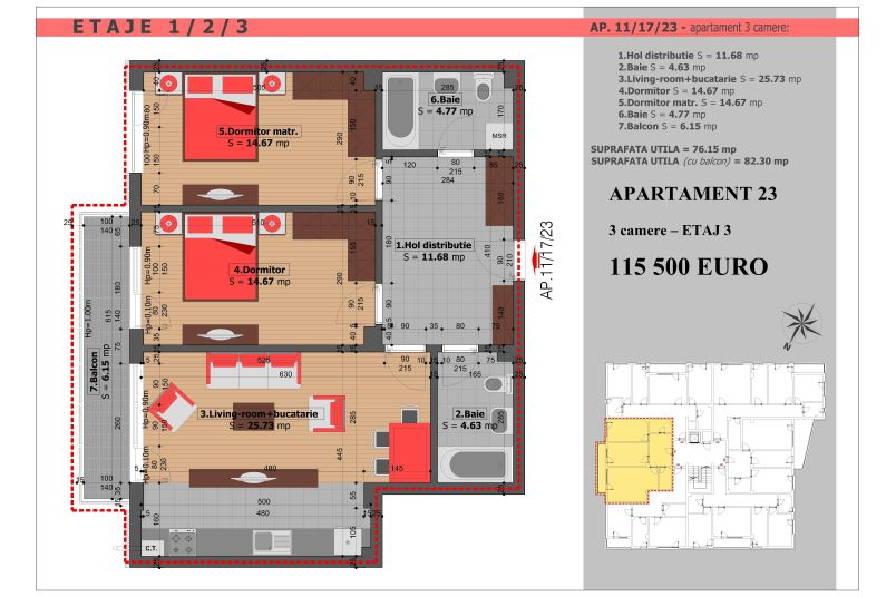 Apartament 3 camere, 76 mp, Mihai Bravu Residence VIII