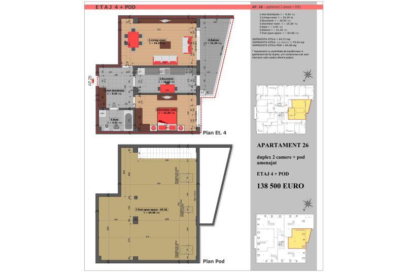 Duplex 2 camere, 65 mp, Mihai Bravu Residence VIII
