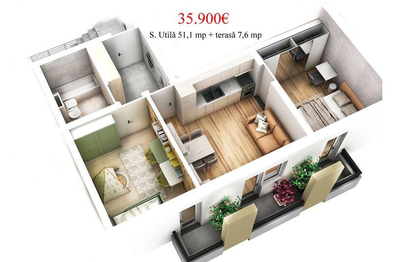 Apartamente 3 camere, 51 mp, Ansamblul Rezidential EBS REI