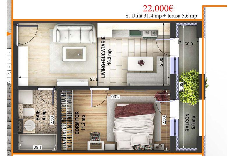 Apartamente 2 camere, 31 mp, Ansamblul Rezidential EBS REI