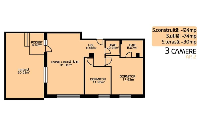 Apartamente 3 camere, 75 mp, Green Residence Sisesti