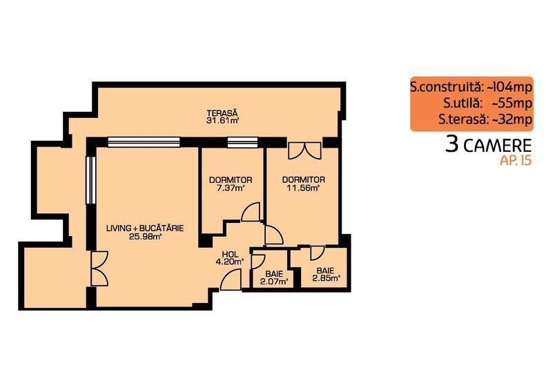 Apartamente 3 camere, 55 mp, Green Residence Sisesti