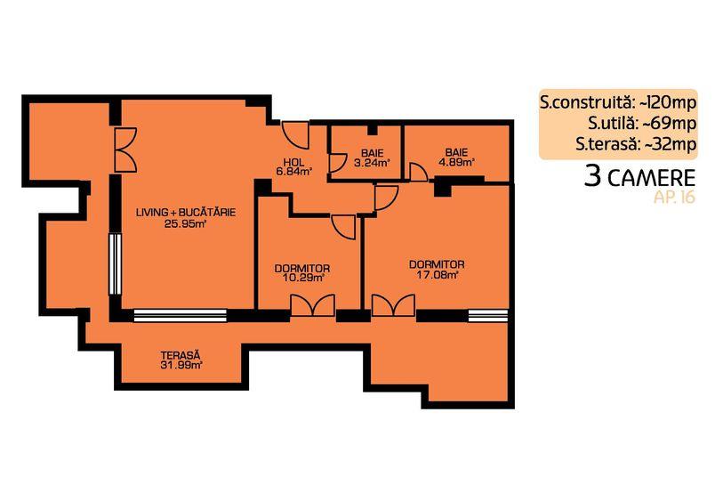Apartamente 3 camere, 66 mp, Green Residence Sisesti