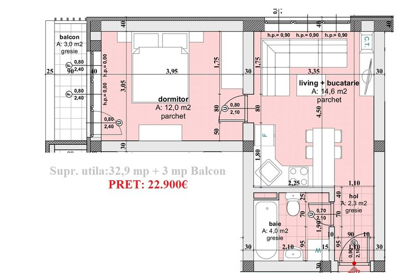 Apartamente 2 camere, 33 mp, Ansamblul Rezidential WBE II