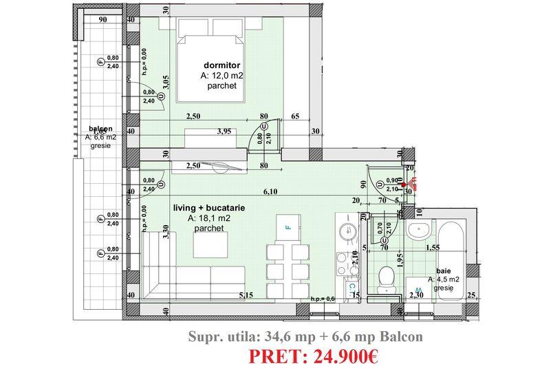 Apartamente 2 camere, 35 mp, Ansamblul Rezidential WBE II