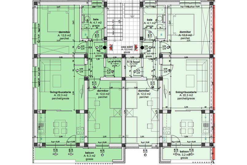Apartamente 3 camere, 56 mp, Ansamblul Rezidential Irina Rosetti - Ciresica