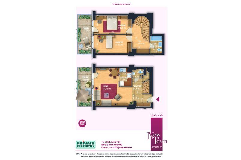 Aprtamente 3 camere, model Duplex C2, Faza 2, 77 mp, NewTown Residence