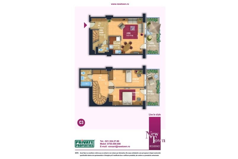 Apartament 3 camere, model Duplex C3, Faza 2, 78 mp, NewTown Residence