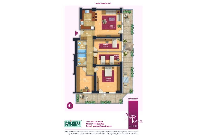 Apartamente 5 camere, model d1, Faza 2, 124 mp, NewTown Residence