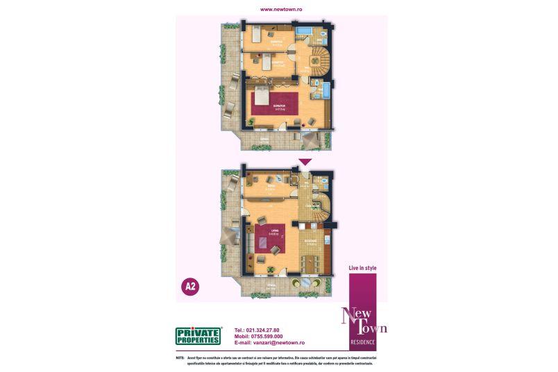 Apartammente 5 camere, model Duplex A2, Faza 2, 167 mp, NewTown Residence
