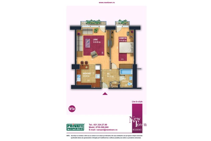 Apartamente 2 camere, model b1a, Faza 2, 58 mp, NewTown Residence