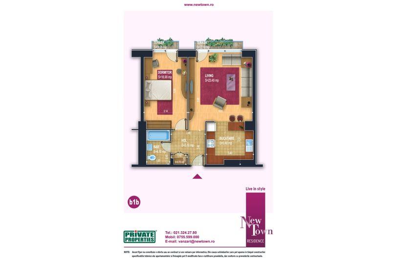 Apartamente 2 camere, model b1b, Faza 2, 59 mp, NewTown Residence