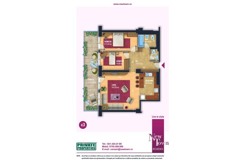Apartamente 3 camere, model c3, Faza 2, 76 mp, NewTown Residence