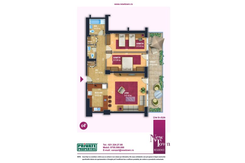 Apartamente 3 camere, model c4', Faza 2, 83 mp, NewTown Residence
